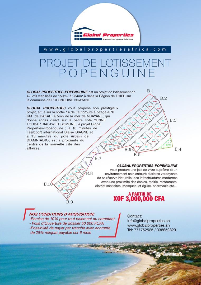 Terrains à vendre Popenguine Mbour